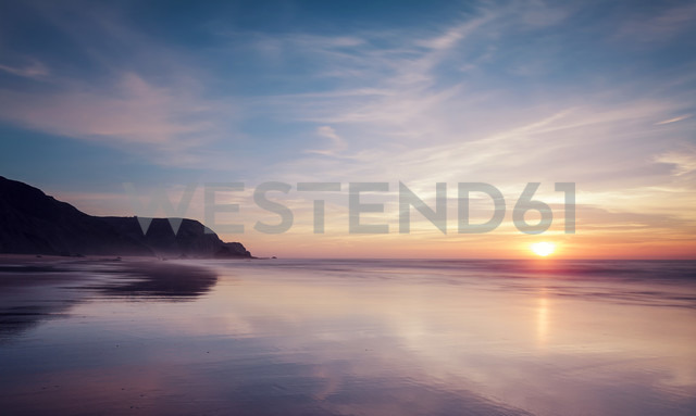 Portugal, View of Praia do Castelejo at sunset - WVF000290