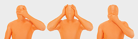 Men in orange zentai gesturing against white background - TCF003086