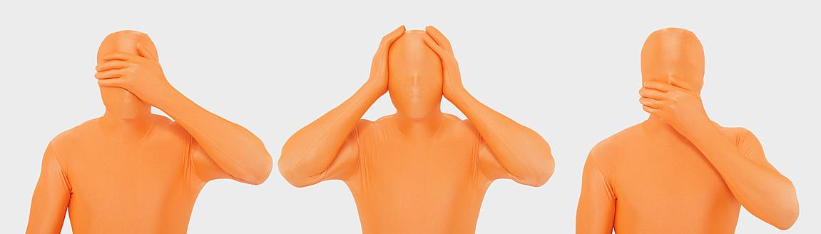 Men in orange zentai gesturing against white background - TCF003086