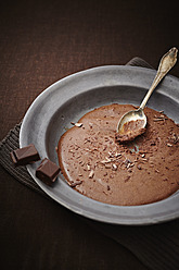 Mousse au Chocolat with spoon on plate - ECF000170