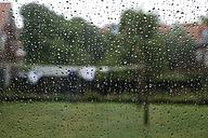 Germany, Lower Saxony, Raindrops on glass - MHF000038