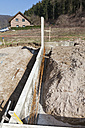 Europe, Germany, Rhineland Palatinate, Retaining wall for house building - CSF015991