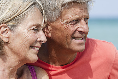 Spain, Close up of senior couple looking away, smiling - JKF000115