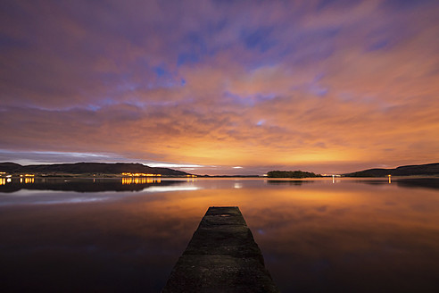 United Kingdom, Scotland, View of Loch Leven at sunset - SMAF000039