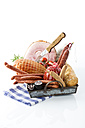 Studio, variety of ham, sausages, tomatoes, rosemary and bread, served on tray - MAEF005291