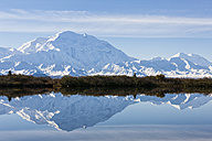 USA, Alaska, View of Mount Mckinley and reflection of pond at Denali National Park - FOF004556