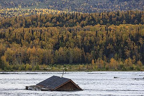 USA, Alaska, View of bloated house in Matanuska River - FO004661