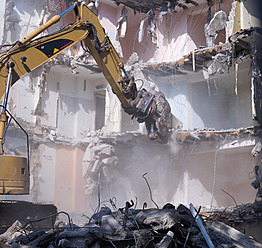 Germany, Wiesbaden, View of demolishing house with hydraulic cutter crane - BSCF000206