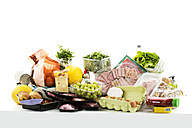 Various groceries on white background - MAEF005519