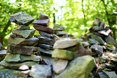 Germany, Hesse, Stack of stones in Kellerwald National Park - MHF000085