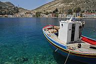 Greece, Kastellorizo, View of fishing boat in bay - MIZ000064