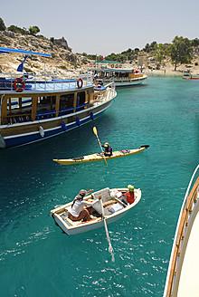 Turkey, Antalya, Excursion boats in Kekova bay - MIZ000059