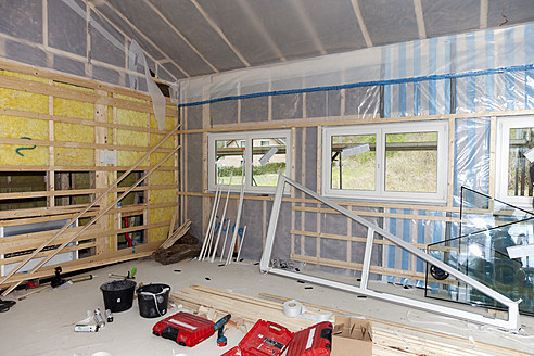 Europe, Germany, Rhineland Palatinate, Interior construction with thermal insulation - CSF016131