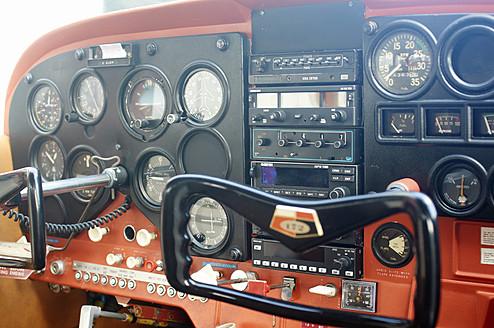 Germany, Rhineland Palatinate, Cockpit of aircraft - BSC000234