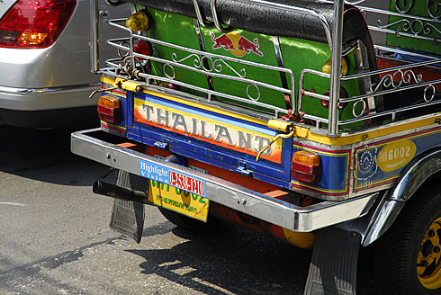 Thailand, Bangkok, Back of cab and Tuk Tuk Taxi - MIZ000111
