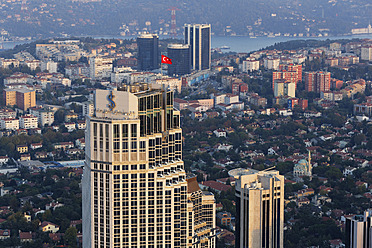 Europe, Turkey, Istanbul, View of Is Kuleleri building and Bosphorus - SIE003208