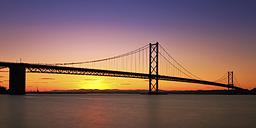 UK, Scotland, View of Forth Bridge at sea - SMAF000096