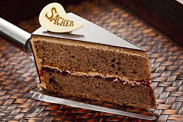 Slice of Sachertorte on cake server, close up - CSF016285