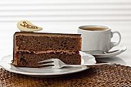 Plate of Sachertorte slice with coffee, close up - CSF016288