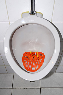 Netherlands, Urinal with soccer goal and football - MIZ000171