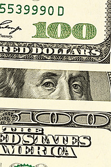 One Hundred US Dollar Notes, close up - EJWF000202