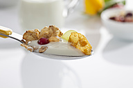 Spoon of yogurt with cornflakes and fruits against white background, close up - CSF016576