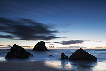 Portugal, View of Praia da Adraga at blue hour - FOF004688
