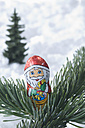 Chocolate santa claus on fir twig with snow - ASF004825