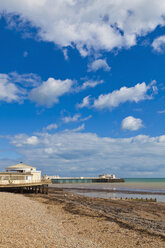 England, Sussex, View of beach at Worthing Pier - WDF001575