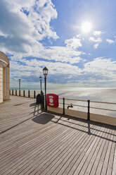 England, Sussex, View of beach at Worthing Pier - WDF001581