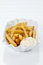 French fries with mayonnaise on plate, close up - CSF016675
