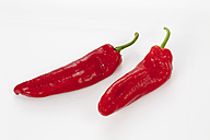 Pointed sweet peppers on white background, close up - CSF016693