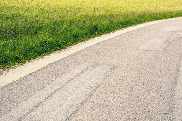 Austria, Detail of road with grass - WVF000309