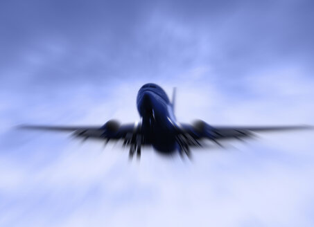 Berlin, Aeroplane flying against cloudy sky - HOHF000060
