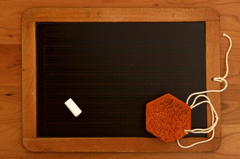 Old chalk board with sponge on wooden tablet - JEDF000012