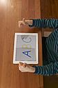 Germany, Baden Wuerttemberg, Constance, Boy using digital tablet - JEDF000013