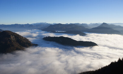Austria, Salzkammergut, View of alpine foothills covered with fog - WWF002695