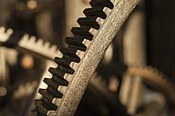 Germany, Bavaria, Cogwheels of old printing press in traditional print shop - TC003348