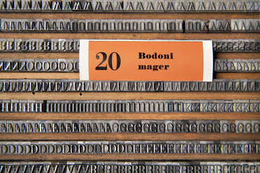 Germany, Bavaria, Drawers of alphabets in typesetting shop - TC003362