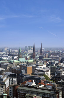 Germany, Hamburg, View of skyline with churches - ALE000015