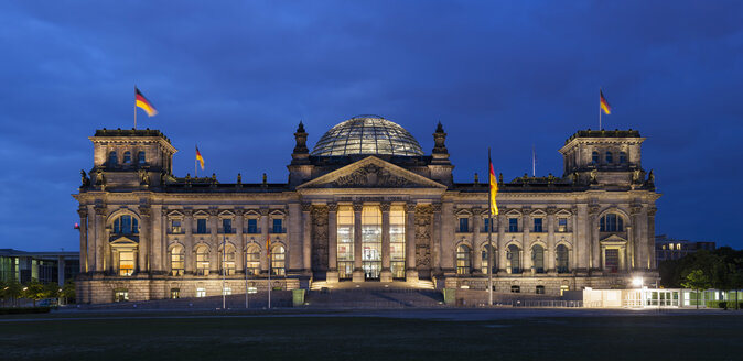 Germany, Berlin, Reichstag dome at night - FOF005026