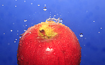 Apple with waterdrops against blue background - JTF000337