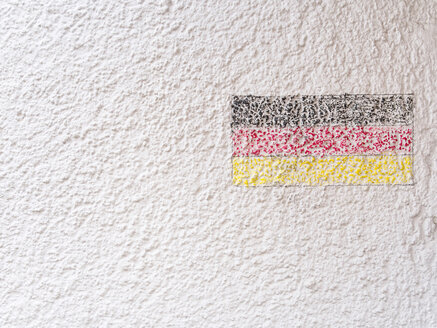 Germany, Munich, German flag painted on house wall - LFF000494