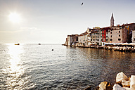 Croatia, Rovinj, View of old town and clock tower of Sv Eufemija Church - MS002893