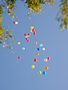Germany, Bavaria, Variety of balloons flying in sky - HSIF000197