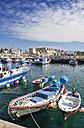 Spain, View of fishing harbour and Castillo Guzman El Bueno - WW002860