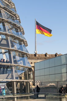 Germany, Berlin, Reichstag building with German flag - CB000006