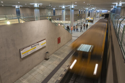 Germany, Berlin, Subway train runs from Bundestag station - CB000014