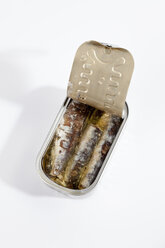 Can of sardines in oil on white background - CSF018763