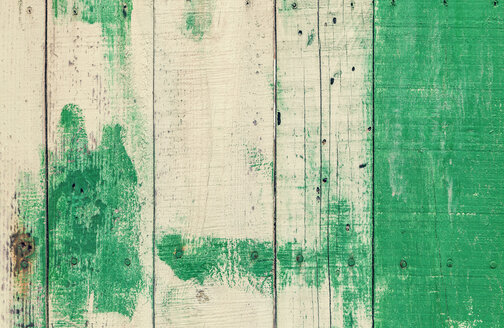 Spain, Green wooden board, close up - WVF000377
